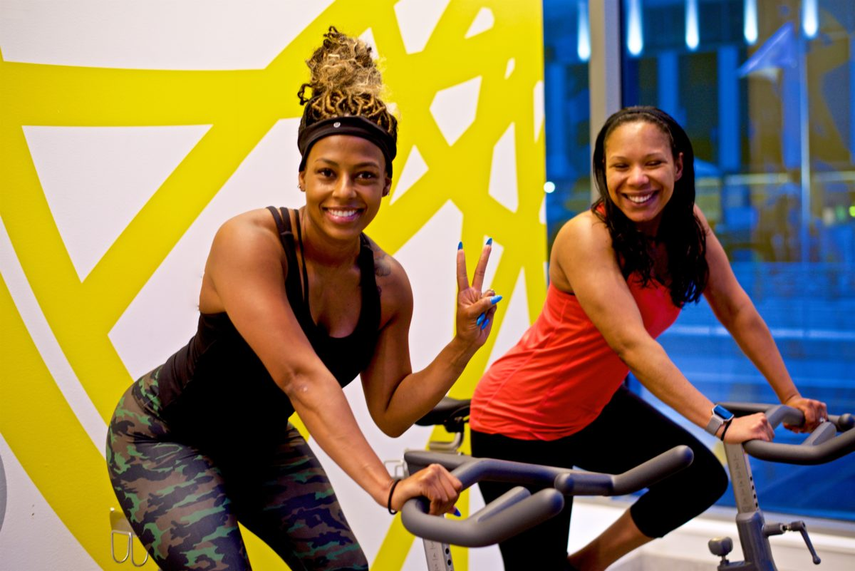 My friend and I at Soul Cycle in Bellevue