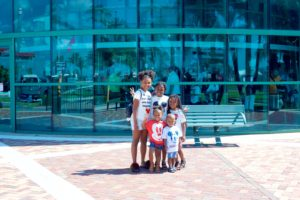 My kids waiting to board the ship in Port Canaveral Florida