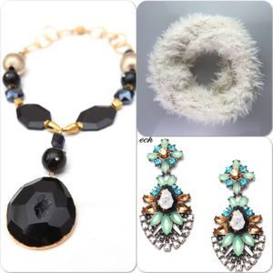 Picture of a faux fur scarf, pendant necklace and chunky earrings.